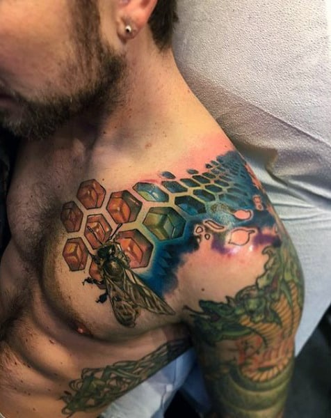 Mens Shoulder Lovely Colored Honeycomb Bee Tattoo