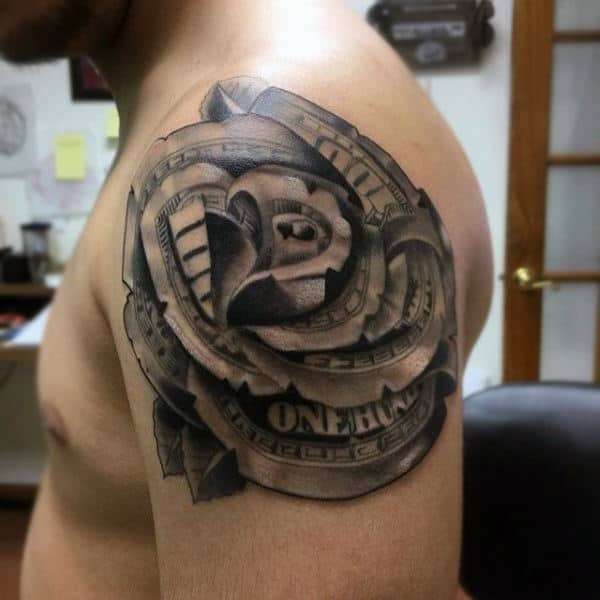 Mens Shoulder Money Rose Tattoo