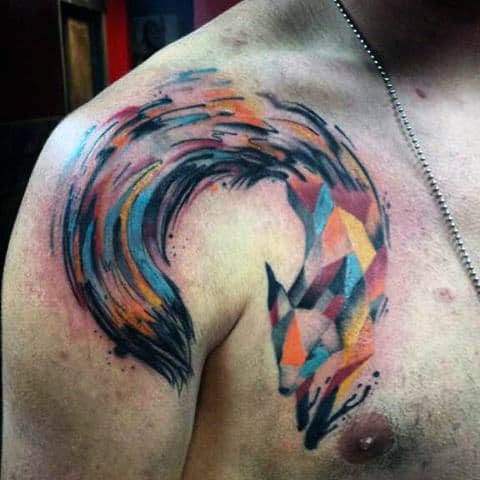 Mens Shoulder Multicolored Geometric Fox Tattoo