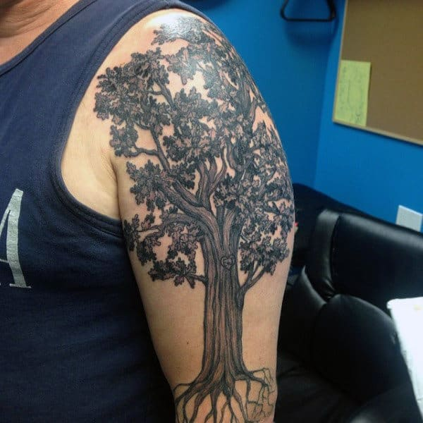 Mens Shoulder Realistic Oak Tree Tattoo