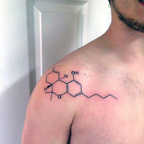 Mens Shoulder Science Tattoo Designs