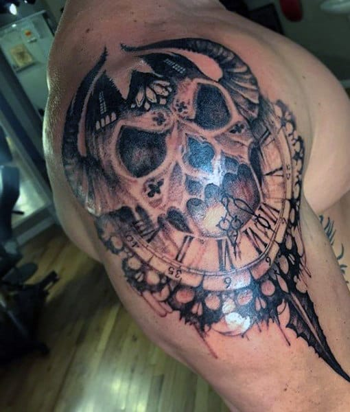 Men's Shoulder Skull Clock Tattoo