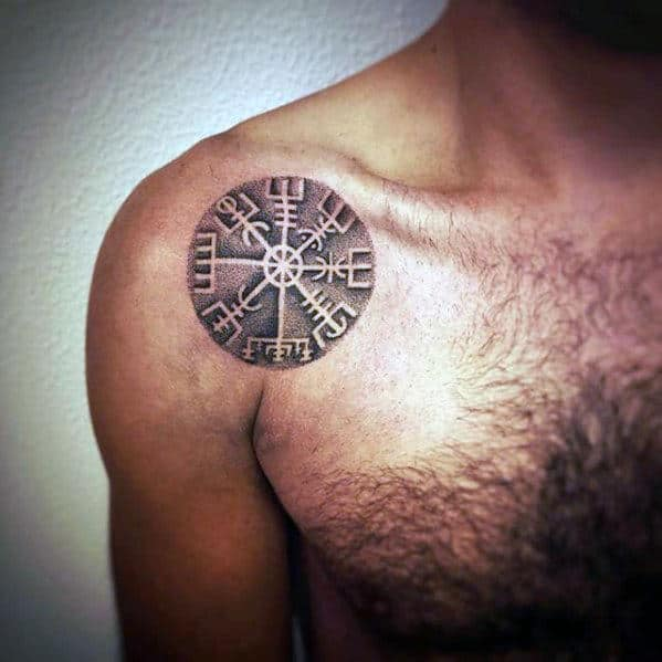 Mens Shoulder Small Viking Compass Tattoo Design