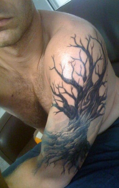 Mens Shoulders Alarming Dark Oak Tree Tattoo