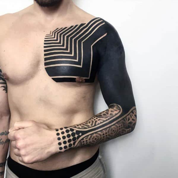 Mens Shoulders Cool Pitch Black Tattoo