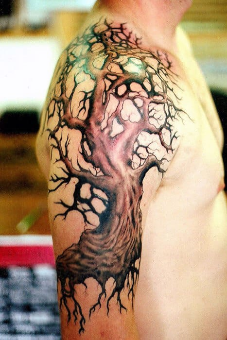 Mens Shoulders Eerie Oak Tree Tattoo