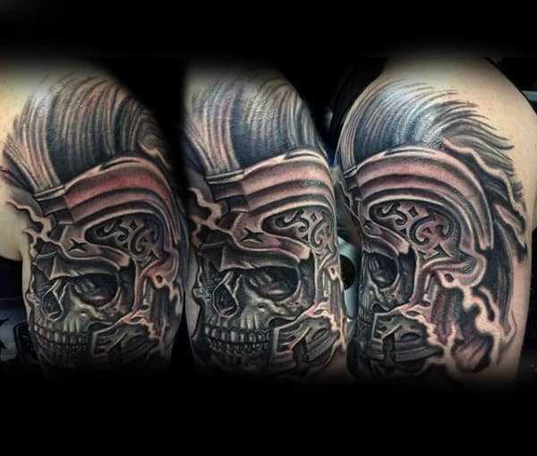 Mens Shoulders Hairy Skull Black And White Tattoo