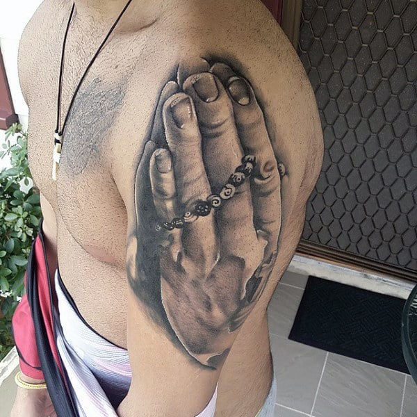 Mens Shoulders Rosary And Praying Hands Tattoo
