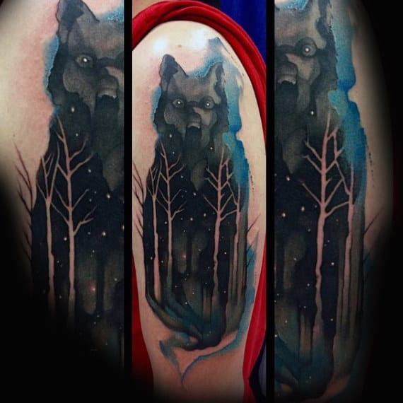 Mens Shoulders Werewolf Watercolor Tree Tattoo