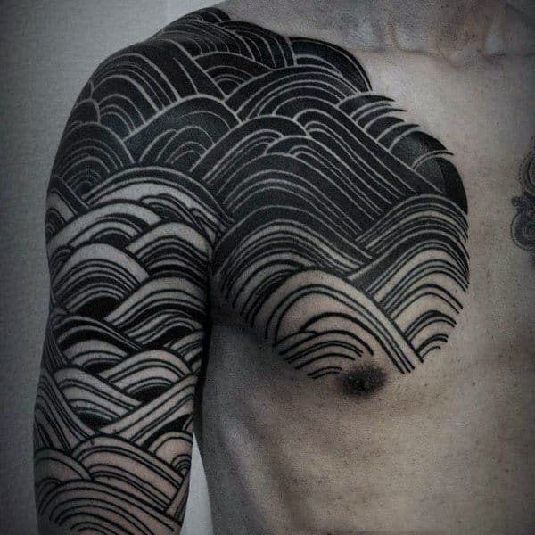 Mens Shouldes Cool Black Waves Tattoo