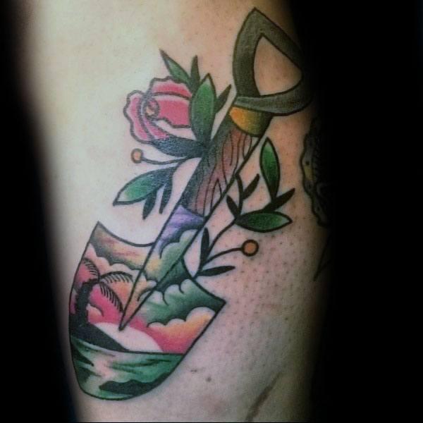 Mens Shovel Tattoo