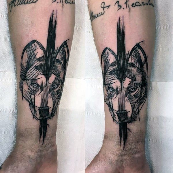 Mens Siberian Husky Tattoo