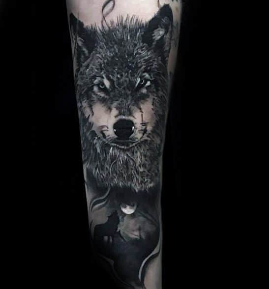 Mens Sick Forearm Wolf Howling At The Moon Sleeve Tattoo