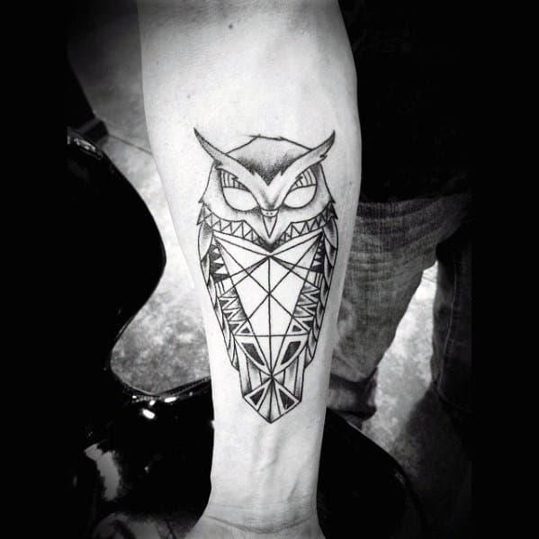 Mens Sick Geometric Owl Inner Forearm Tattoos