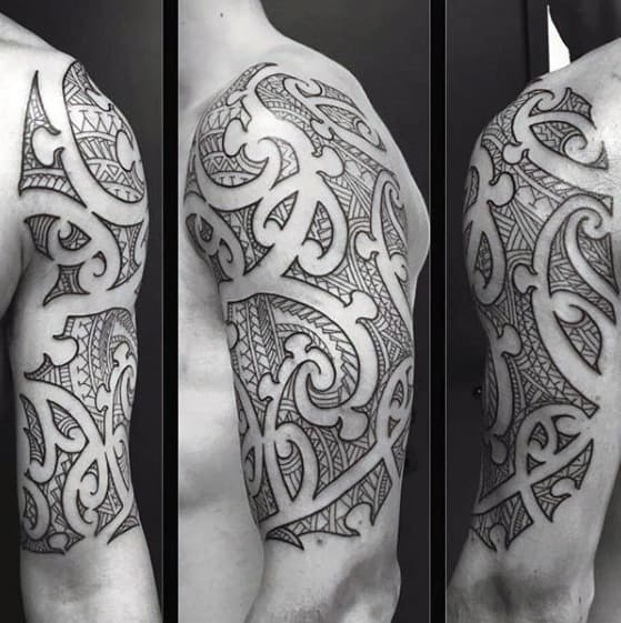 Mens Sick Negative Space Tribal Arm Tattoos