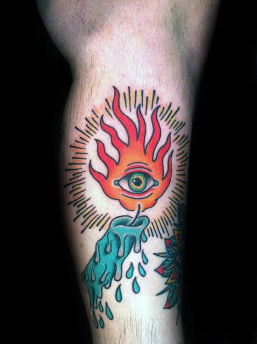 Mens Side Of Leg Candle Flame Eye Traditional Tattoo Designs