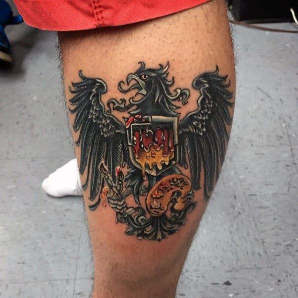 Mens Side Of Leg German Eagle Tattoo Design