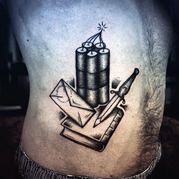 Mens Side Ribs Bomb Letter Knife Book Tattoo