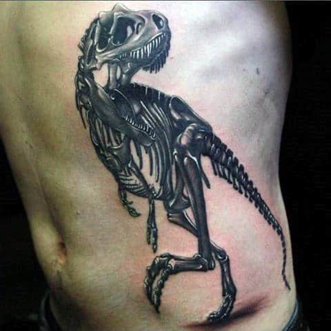 Mens Side Ribs Dinosaur Skeleton Tattoos