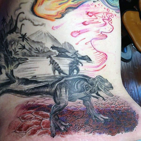 Mens Side Ribs Dinosaurs Stolling Around With Fireball In Sky Tattoo