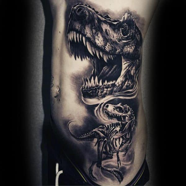 Mens Side Ribs Gigantic Dinosaur Skeleton Tattoo Designs