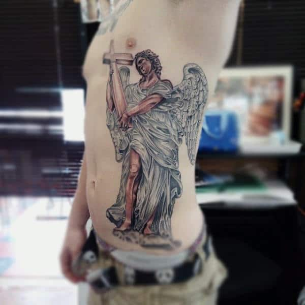 Mens Side Ribs White Robed Guardian Angel Tattoo With Cross