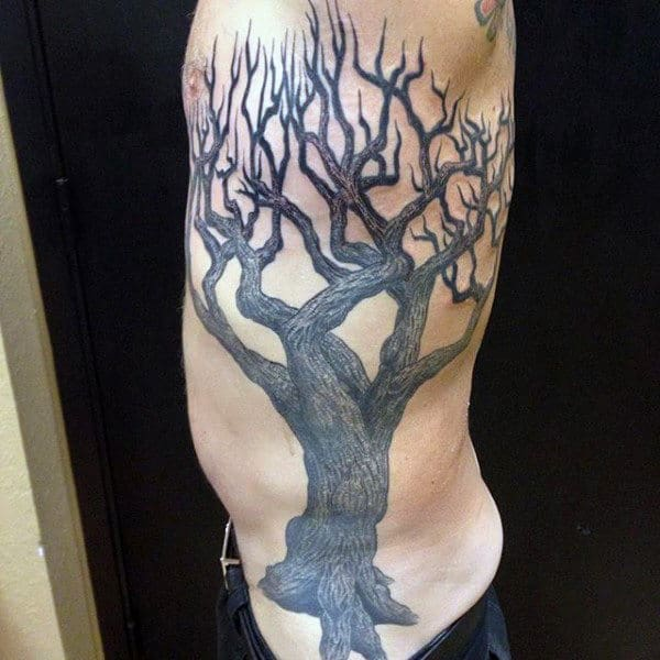 Mens Side Spiky Branched Oak Tree Tattoo