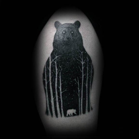 Mens Silhouette Bear Forest Tree Tattoo On Upepr Arm