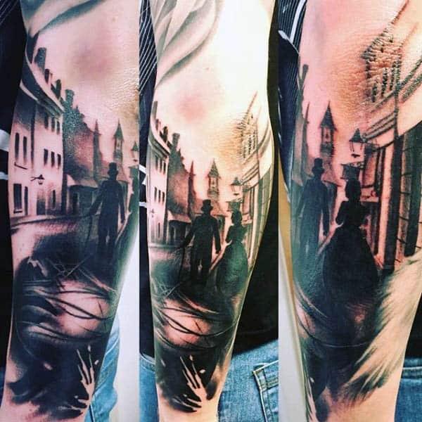Mens Silhouette City Street Tattoos
