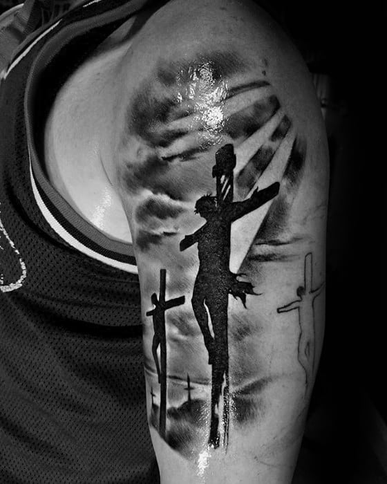 Mens Silhouette Jesus On The Cross Arm Tattoo