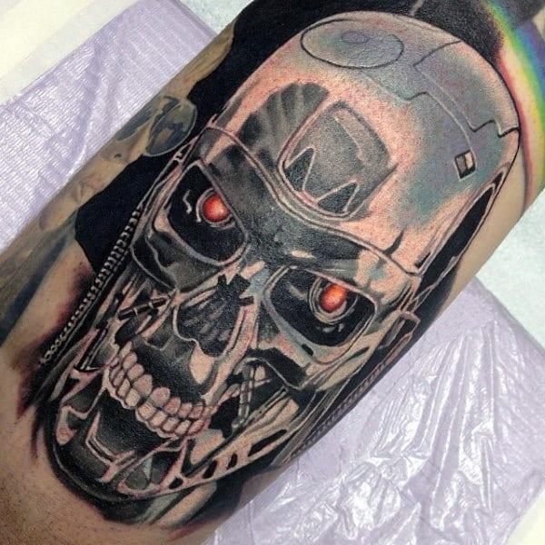 Mens Silver Terminator Cyborg Arm Tattoos