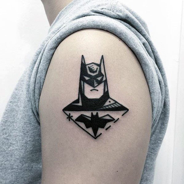 Mens Simple Arm Batman Tattoo