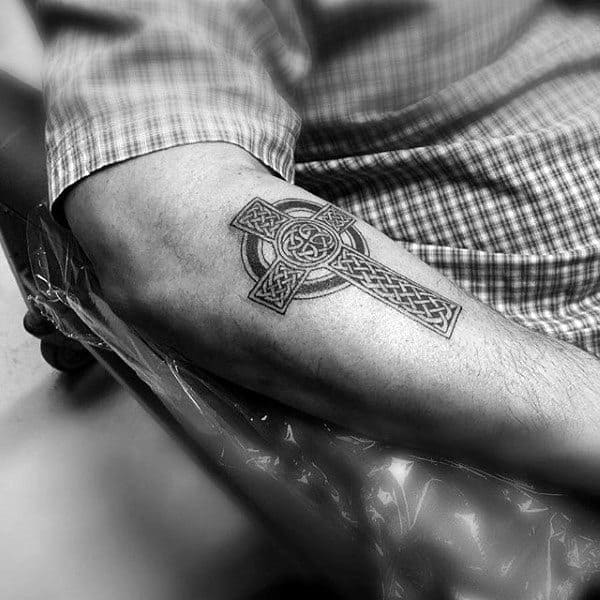 Mens Simple Celtic Cross Outer Forearm Tattoo