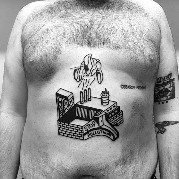 Mens Simple Chest Factory Artistic Tattoo Designs