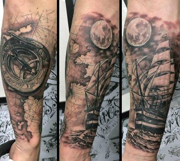Men's Simple Compass Tattoo
