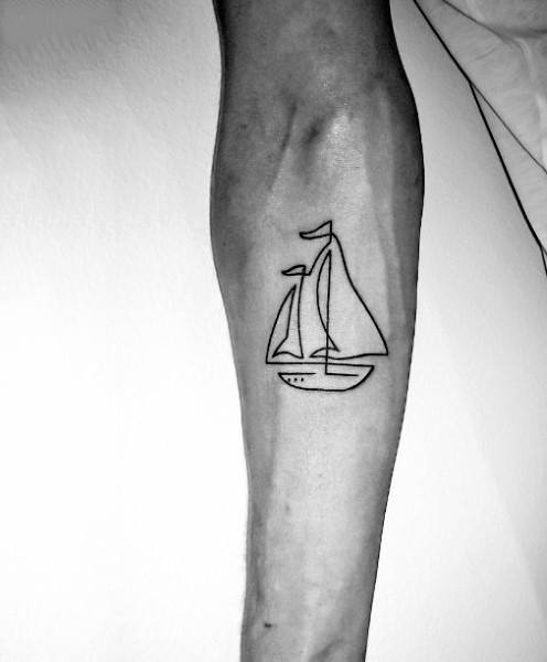 Mens Simple Line Tattoos Of Sailboat
