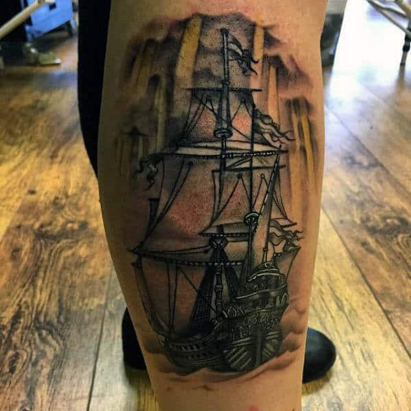 Mens Simple Sailboat Tattoo