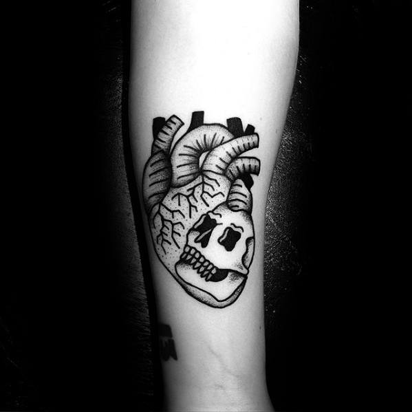 Mens Simple Skull With Heart Forearm Tattoo