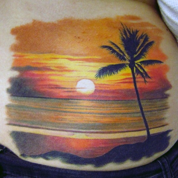 Mens Simple Sunset Tattoo Side Piece With Parl Tree