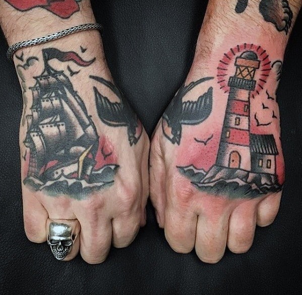 Mens Simple Traditional Ship And Lighthouse Hand Tattoos