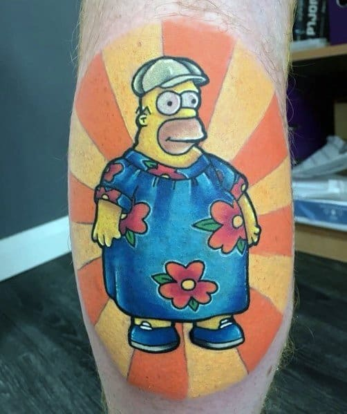 Mens Simpsons Tattoos On Leg Calf