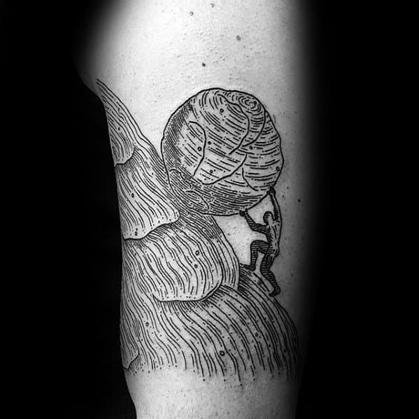 Mens Sisyphus Tattoo Design Ideas On Arm