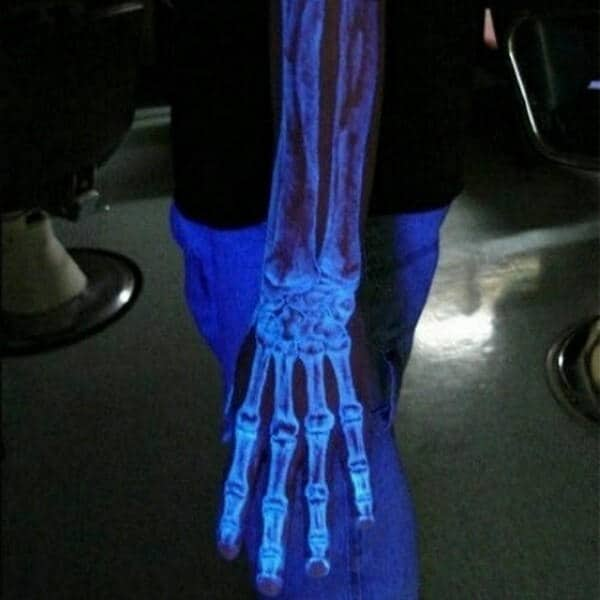 Mens Skeleton Glow In The Dark Bones Tattoo Under Black Light