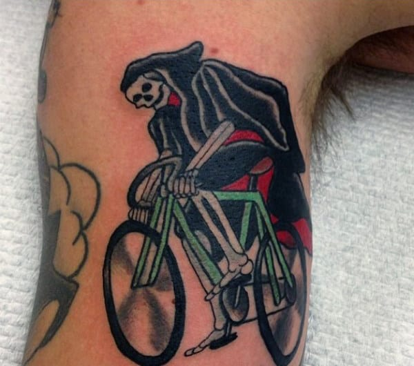Mens Skeleton Riding Bicycle Tattoo On Arms