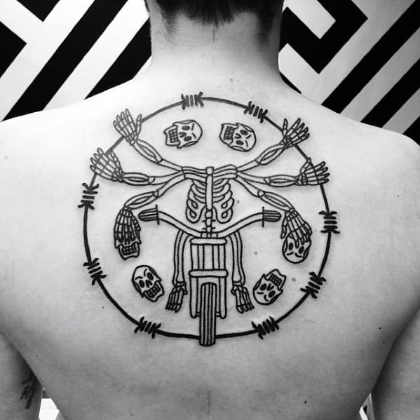 Mens Skeleton Riding Motorcycle Cool Simple Back Tattoo