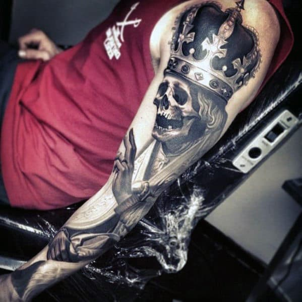 Mens Skeleton With Crown Awesome Arm Tattoo