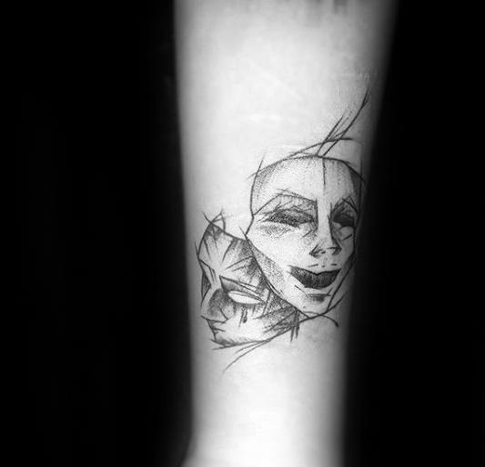 Mens Sketched Forearm Tattoo Ideas With Drama Mask Design