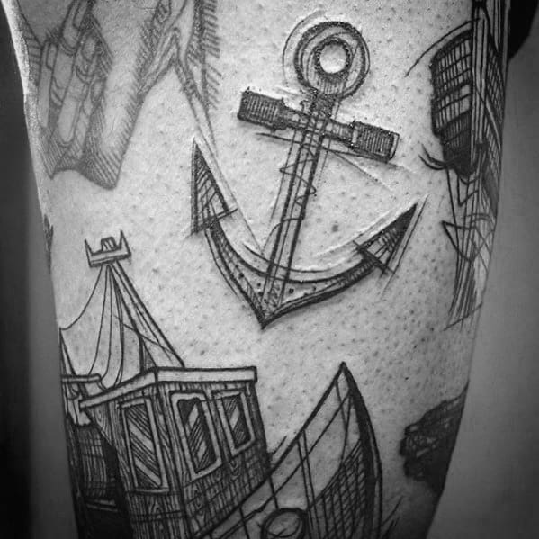 Mens Sketched Small Manly Anchor Tattoo On Leg