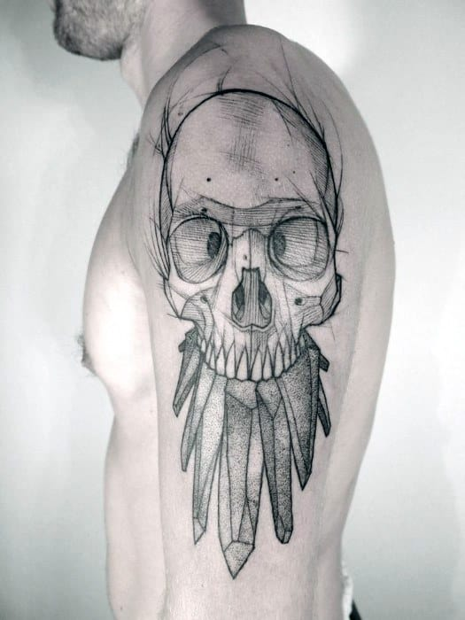 Mens Sketched Tattoo Badass Skull Design