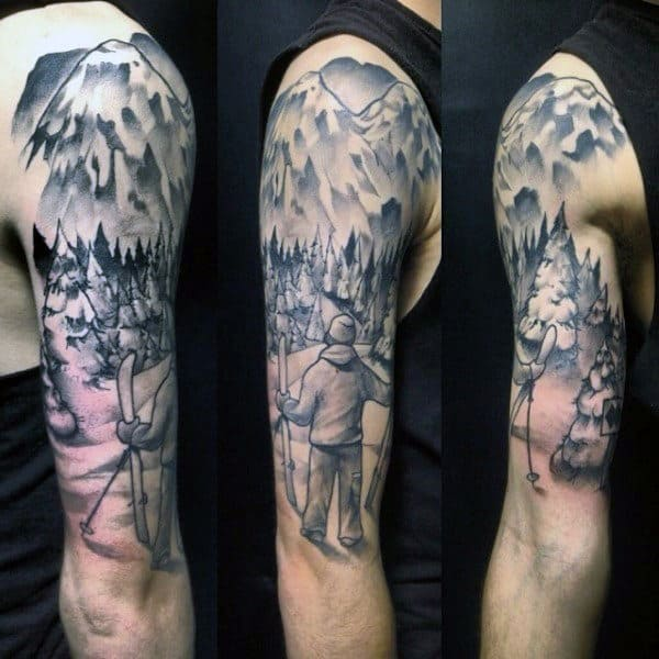 Mens Skiing Half Sleeve Tattoo Designs